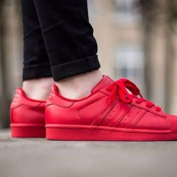Originals Adidas Superstar Supercolor Red Women's Men's Classic Sneaker Sprot Shoes