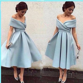 Sexy Tea Length Elegant Evening Dresses 2018 V Neckline Shortsleeve Evening Party Dress A-Line Short Prom Gown For Prom