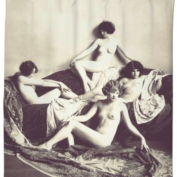 Adult series, shower curtain - Vintage erotic photography, perfect 1920s girls