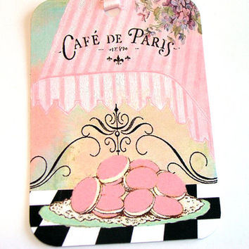 Pink Macaron Gift Tags , Set of 6 , French Cafe Tags , French Bakery Tags , Macaron Tags , Patisserie Tags , Paris Cafe Tags