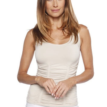 LAST TANGO Rouched Scoop Neck Tank -Sand