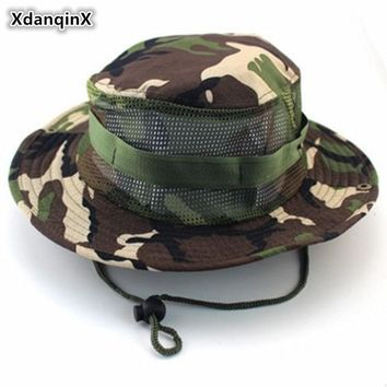 XdanqinX Summer Men's Casual Jungle Camouflage Bucket Hats Mesh Breathable Fishing Cap Rope Fixing Round Edge Sun Hat For Men