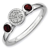 Garnet and Diamond Cluster Stackable Ring 1/20ctw