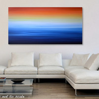 "HUGE 48"" Abstract Seascape Ocean Beach Painting - Acrylic Canvas Art - Blue, Yellow, Orange, Red - 48 x 24: Winter Sunrise - FREE Shipping"