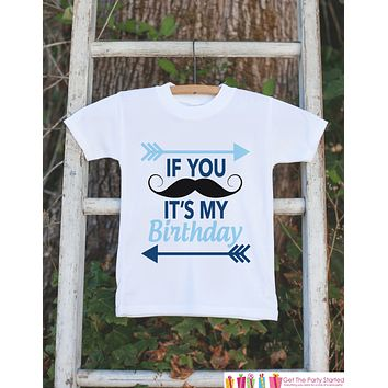 Kids Birthday Shirt - Mustache Birthday Boy Shirt - Birthday Shirts for Boys - Little Man Birthday Shirt or Onepiece - Birthday Boy Outfit