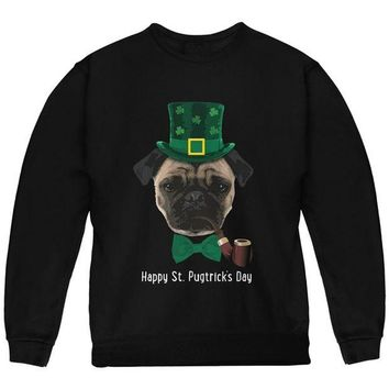 DCCKJY1 St. Patrick's Pugtrick's Day Funny Pug Youth Sweatshirt