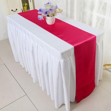1 PCS Table Runners Solid Satin Polyester Ribbon Rustic Home Decoration Table Runners 8 Colors