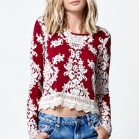 LA Hearts Crochet Trim Long Sleeve Top - Womens Tee