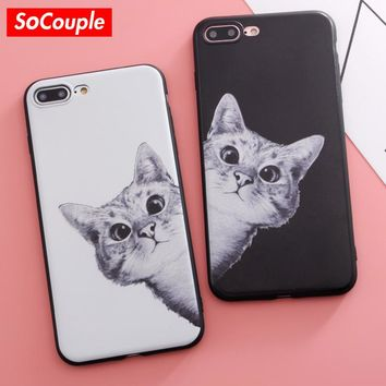 SoCouple Silicone Relief Case For iphone 7 Case Cute Cartoon Cat TPU Phone Cases For iphone 6 6S 8 6/7/8 plus X 5 5s SE