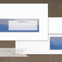 Blue Watercolor Envelope Wrap Address Label Ombre Beach Ocean Printable Classic Shabby Chic PDF Wraparound DIY Address Labels - Shavon