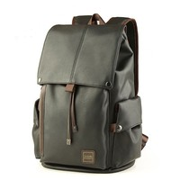 Cool Men's PU Leather Draw String Large School Bag USB Interface Capacity Flap Hiking Backpack