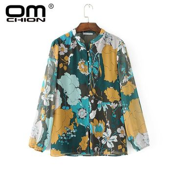 Chiffon Long Sleeve Print Stand Neck Loose Casual Blouse