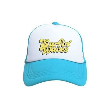 Surfin' Waves Trucker Hat (Toddler) by Tiny Trucker Co.