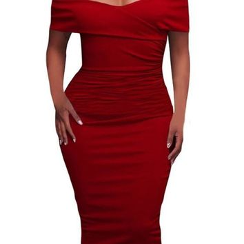 Red Bandeau Pleated Off Shoulder Side Pull Bodycon Homecoming Midi Dress