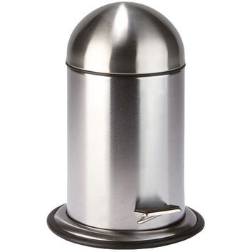 Lura Round Stainless Steel Pedal Wastebasket Trash Can for Bath, Kitchen, Office