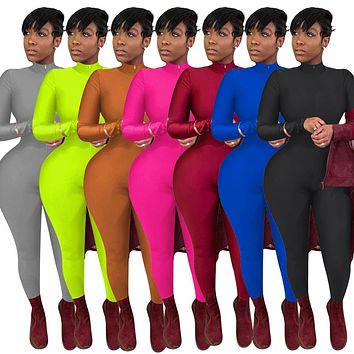 Women Fashion Solid Color Long Sleeve Front Zipper Bandage Jumpsuit