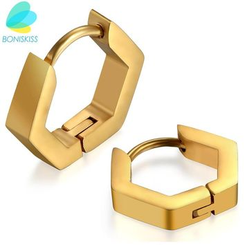 Boniskiss Gold/Black/Silver Simple Small Geometric Hoop Earrings Fashion Stainless Steel Earrings For Men Women Birthday's Gift