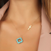 "Sideways cross necklace, turquoise clover necklace, turquoise clover, gold cross necklace, asymmetrical necklace, gold filled, ""Admete"""