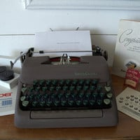 Vintage Smith Corona Manual Typewriter with Case, Old Typewriter with Original Sales Tags Ribbons and Accessories