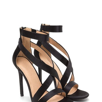 Exclusive Crowd Caged Satin Heels