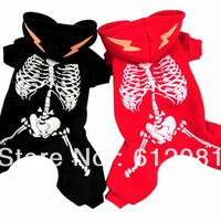 New style pet dog glow in the night Skeleton hoodies skull coat jumpsuit winter clothes black/red color