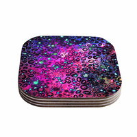 "Ebi Emporium ""Rainbow Dotty Ocean, Purple"" Pink Black Coasters (Set of 4)"