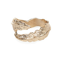 River Island Womens Gold tone wrapped leaf midi ring
