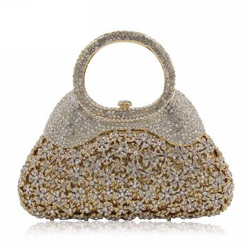 Luxury Flower Crystal Evening Party Clutch/Bag