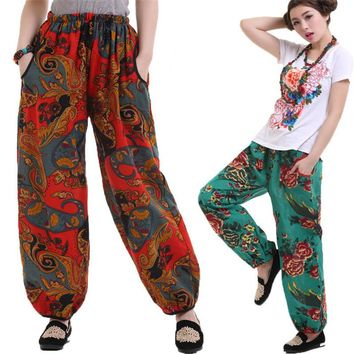 11 Color  2016 New Women Casual Harem Pants High Waist Pants Dance Club Wide Leg Loose Long Bloomers Trousers Plus Size