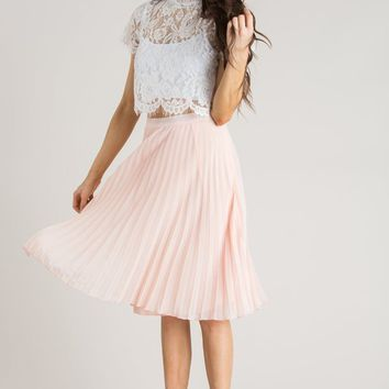 Camille Pink Pleated Midi Skirt
