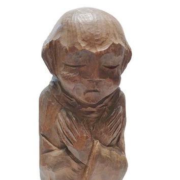 vintage Wood Monk Statue . Wooden Monk Figurine . Hand Carved Friar . Mid Century Wall Hanging .