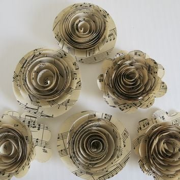 "6 Roses and Ranunculus Sheet Music Paper Flowers, 3"" Loose Artificial Floral Decor, Song Book Page Decorations"