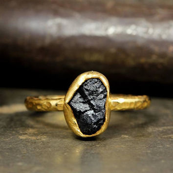 Raw Black Tourmaline Natural Gemstone, Rough Handcrafted Hammered Stack 24K Yellow Gold over 925 Solid Sterling Silver Stack, Stackable Ring