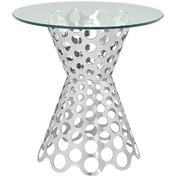 Arrange Glass Top Modern Side Table w Stainless Steel Base