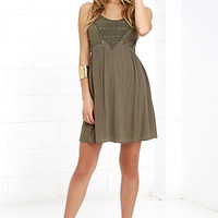 Remain True Olive Green Embroidered Dress