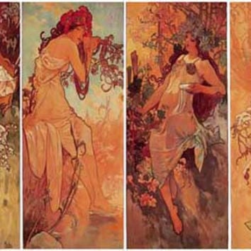 Alphonse Mucha Four Seasons Poster 11x17