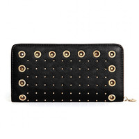 Black Eyelet Studded Leather-look Long Purse
