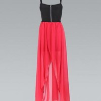 Coral Asymmetric Sleeveless Dress with Black Zip Top