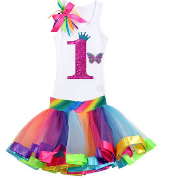Baby's 1st Birthday Outfit, Rainbow Tutu Butterfly, Butterfly Birthday, Monarch Butterfly, Butterfly Tutu, Rainbow tutu outfit, Personalized