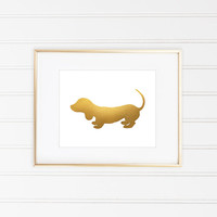 Dachshund Print, Dachshund Art, Faux Gold Foil, Gold Foil Print, Gold Leaf Art, Dog Print, Minimalist Art, Gold Dog, Office Decor,Home Decor