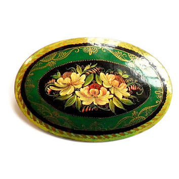 Vintage Lacquer Flower Brooch - Hand Painted - Green Gold Black - Cabbage Rose  Floral - One of a Kind - Broach Pin - Wood Wooden Brooch