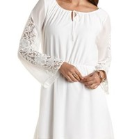 Long Sleeve Lace & Chiffon Dress by Charlotte Russe