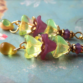 Vintage Style Earrings, Flower Beads, Lime Green Purple Dangle Earrings, Boho Chic, Cute