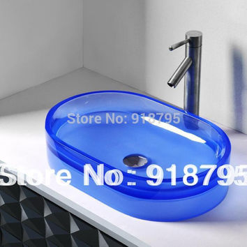 Oval Bathroom Resin Counter Top Sink Vessel Cloakroom Vanity Above Counter Colourful Wash Basin RS38279