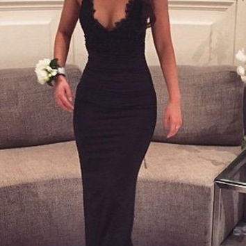 Black Sheath Long Spaghetti Straps Prom Dresses
