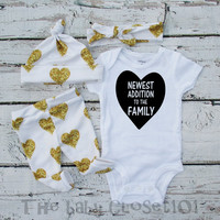 baby girls coming home outfit Girls, leggings,Onesuit and Hat and Headband,Hospital Outfit,white gold heart,outfit set,Infant,Baby leggings,