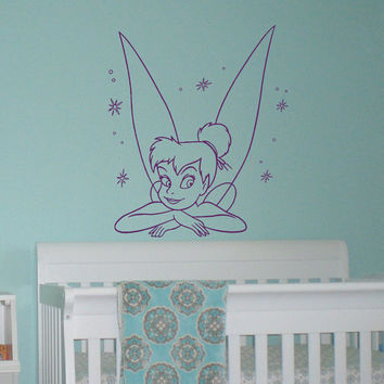 Vinyl Wall Decals Tinkerbell Disney Princess Silhouette Peter Pan Bedroom Decal Wall Stickers Baby Nursery Wall Art Murals For Kids Q067