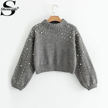 Sheinside Lantern Sleeve Faux Pearl Beading Crop Sweater 2017 Fashion Grey Crew Neck Long Sleeve Loose Winter Pullovers Sweater