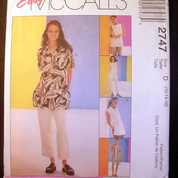 Women's Shirt, Top, Pants, Shorts Misses' Size 12,14,16 Easy McCall's 2747 Sewing Pattern Uncut