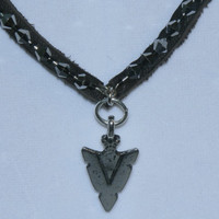 Necklace - Leather & Hematite - With - Arrowhead Pendant
